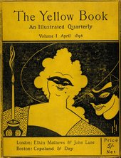 Cover of The Yellow Book, illustrated by Beardsley. Shows a woman in a mask with a candle and another masked man lingering behind