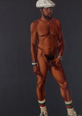 Barkley L Hendricks, Brilliantly Endowed (Self-Portrait), 1977, oil and acrylic paint on canvas, 167.6 × 122.6 cm - © Barkley L Hendricks, courtesy the artist and Jack Shainman Gallery, New York