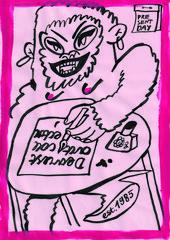 illustration of a gorilla writing 'dearest art collector'