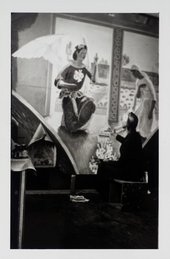 Photograph of Vanessa Bell painting The Annunciation mural for Berwick Church © Tate Archive