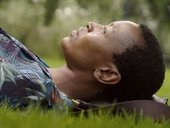 Billie Zangewa lying on the grass