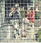"David Hockney  Billy + Audrey Wilder, Los Angeles, April 1982 1982  Composit polaroid, 46 x 44""  Private Collection © David Hockney Photo Credit: Richard Schmidt"