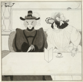 illustration of two women sitting at a table drinking coffee