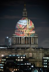 William Blake's 'The Ancient of Days' 1827, projected by Tate Britain onto St Paul's Cathedral 2019 Photo: © Tate (Alex Wojcik)