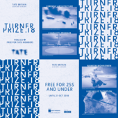 cyanotype print leaflet for the Turner prize exhibition 2018.
