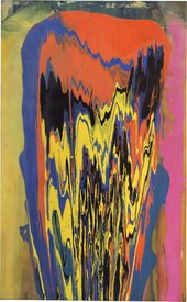 Frank Bowling Tony's Anvil 1975, abstract drip painting in bold orange, pink, yellow and purple