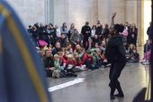 A photograph from a family event in Tate Britain's Duveen galleries