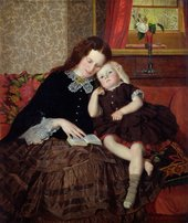 Painting by William Nicol of a woman and a young girl sat together reading from a book
