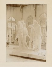 Monument to the Burghers of Calais in the studio at Meudon c.1902. Photo by Jean Limet, Musée Rodin