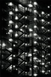 black and white high contrast photograph of stairwells in Tokyo