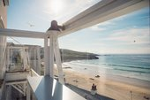 The view over Porthmeor Beach from the cafe at Tate St Ives