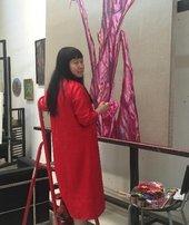 Artist Cai Jin in the studio