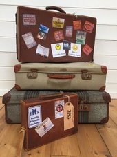 Suitcases stacked for a journey