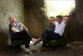 Tsai Ming-liang and Lee Kang-sheng laughing in their mountainside home