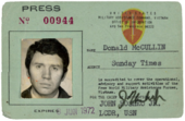 Don McCullin's MACV press card from 1972, the year he covered the South Vietnamese army retreat