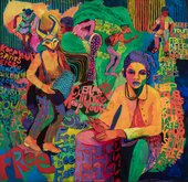 colourful painting by Carolyn Mims Lawrence of two people, one drumming