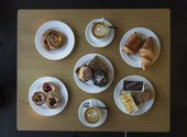 Overhead shot of pastry and snacks