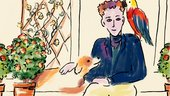 A drawing of artist Cedric Morris sits with a dog leaning on his lap and a red parrot on his shoulder