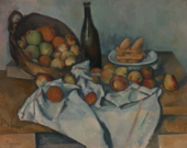 A painting of a basket of apples tipped up on ones side with a white napkin and a glass of bottle