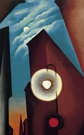 Georgia O'Keeffe New York Street with Moon 1925 Museo Thyssen-Bornemisza (Madrid, Spain) © 2016 Georgia O'Keeffe Museum/DACS, London