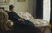 Claude Monet Meditation, Mrs Monet Sitting on a Sofa 1871 musée d'Orsay, Paris, France copyright photo musée d'Orsay / rmn