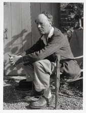 Photograph of Clive Bell on the terrace at Charleston farmhouse © Tate Archive