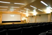 projector screen and seating in the Clore Auditorium