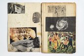 photograph of sketchbook showing collaged images across two pages