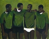 four men stand in a row wearing green jumpera nd underpants. The background is green