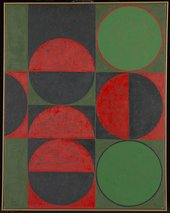 Composition Red and Green Squares and Circles