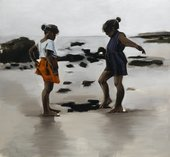 Painting of two girls playing in the sand