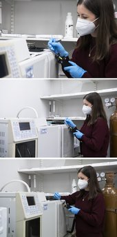 A collage of three similar images - in each a person wears a white face mask and blue protective gloves, and operates a piece of machinery. They are in a lab, surrounded by large machines and cylinders.