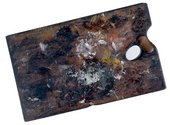 Constable's palette c.1837 Reddish hardwood, traditionally cherry wood or walnut, though not identifiable by analysis ​​​​​​​© Tate