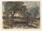 John Constable RA Archdeacon John Fisher with his dogs, Salisbury 1829 Pen, bistre ink, and watercolour on paper © Victoria and Albert Museum, London