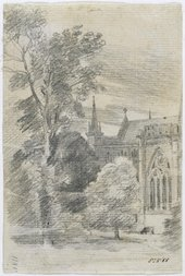 John Constable RA Salisbury Cathedral: exterior from the south-east 1811 Pencil on laid paper © Victoria and Albert Museum, London