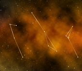 Three constellations of stars on a background featuring an orange cloud and stars in outer space