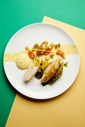 Corn-fed chicken dish