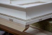 Photo showing where the mitre key is cut into a slot on the reverse of the frame, and the build-up and a line of composition ornament pressed from an original boxwood mould