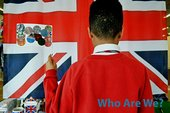 Child taking part in Counterpoints Arts activity The New Union Flag with Gil Mualem Doron