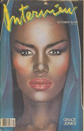 Cover of Andy Warhol's Interview magazine from October 1984, featuring Grace Jones