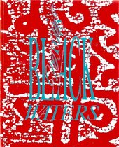 Red book cover with white abstract pattern, and the title in bright blue text, with 'BLACK' and 'WATERS' running horizontally and 'Crossing' running vertically upwards between the 'L' and 'A' of 'BLACK'
