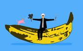andy warhol sitting on a banana