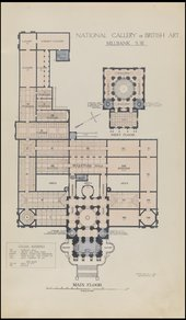 Floor Plan of the Tate Gallery featuring the addition of the 1926 Modern and Foreign Gallery and the position of the original 1898 sculpture gallery