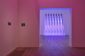 A room bathed in pink light