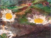 The daisies floating near Ophelia's right hand represent innocence. Ophelia also mentions, 'There's a daisy' in Act IV, scene V.