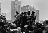 Writer and broadcaster, Darcus Howe at an Anti-National Front demonstration, Lewisham, 1977 © Syd Shelton