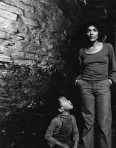 A black and white photograph of Darcus Beese and his mother, Barbara Beese