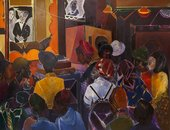 Colourful paitning depicting a busy night from the London dub scene