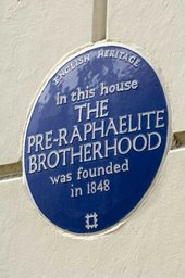 The blue plaque at 7 Gower Street celebrating the founding of the Pre-Raphaelite Brotherhood © Derek Kendall, English Heritage