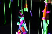 Detail of cones in neon installation